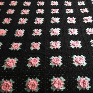 Vintage Black Crochet Blanket with Pink Roses